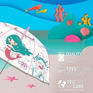 ombrello trasparente con stampa pompiere, certificazioni di qualità, giocattolo e sicurezza