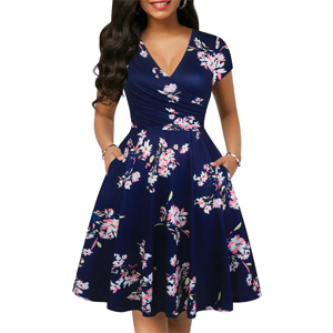 Women's Chic Summer Casual Dresses Vintage Dot V-Neck Cap Sleeve Casual Pockets Swing Tea Dress
