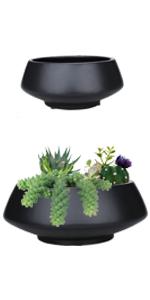 "8.6"" + 6.3"" black ceramic pots succulent planters"