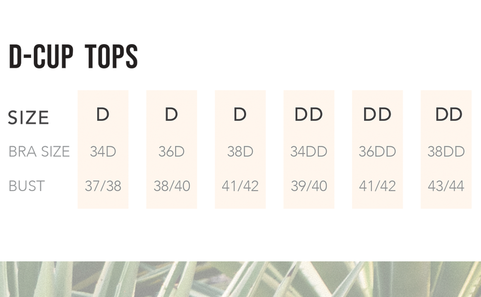 Swim Systems size chart for D-Cup tops.