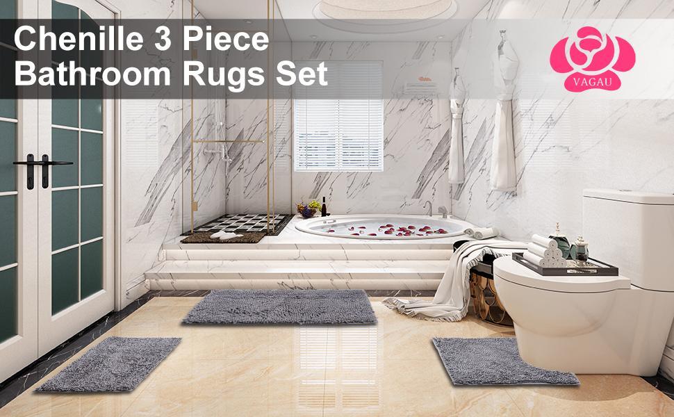 VAGAU Bathroom Rugs Set 3 Piece