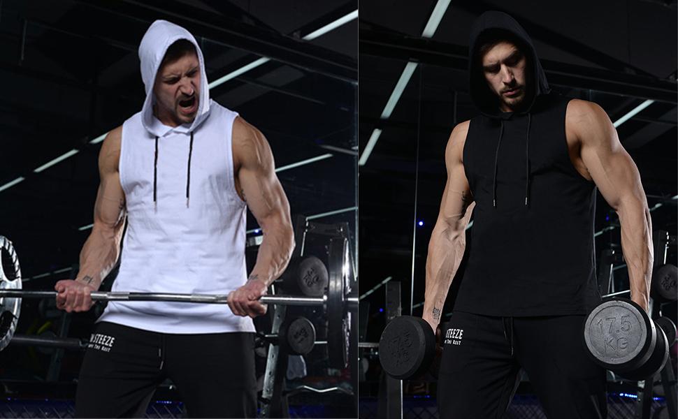 Men's Workout Hooded Tank Tops Bodybuilding Muscle T-Shirt Sleeveless Gym Hoodies