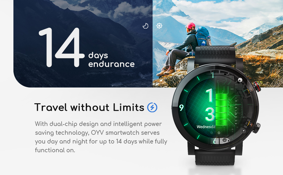 Smart Watch for Android & iOS Phones Compatible 14 Days Endurance IP68 Swimming Waterproof2