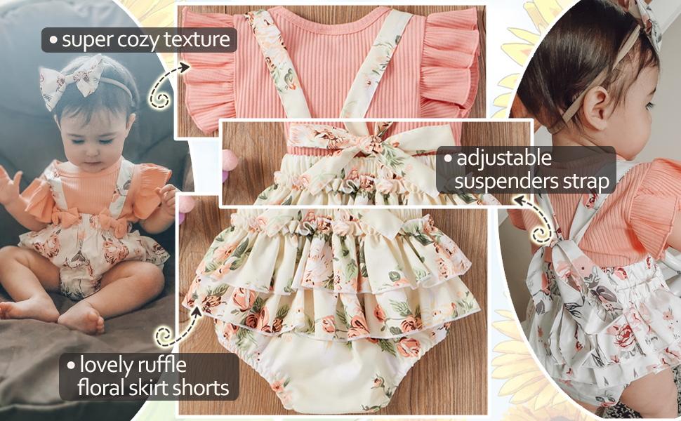 floral shorts set baby girl