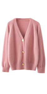 Faux Mohair Fur Cardigan Sweater