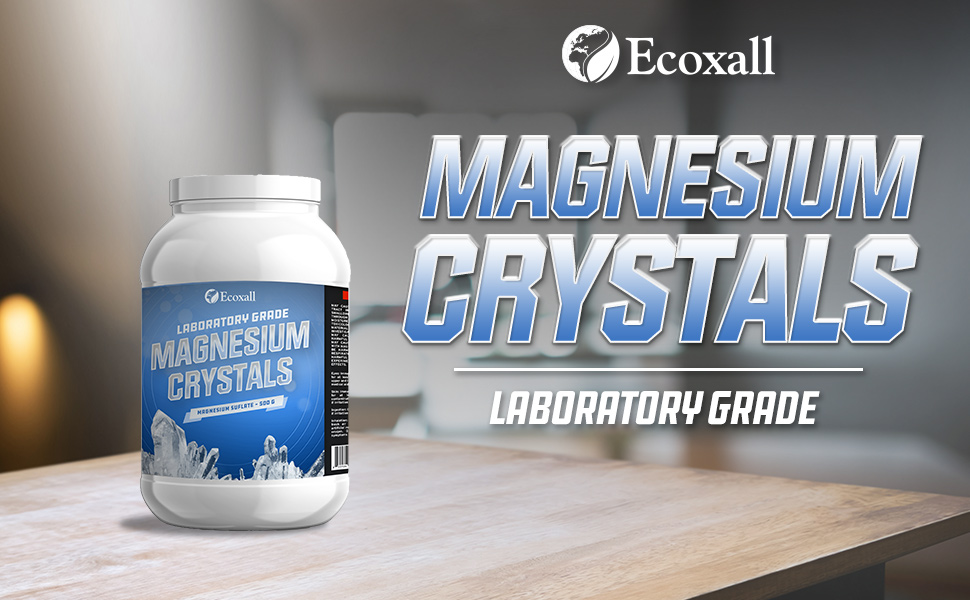 Bottle of Magnesium crystals on table