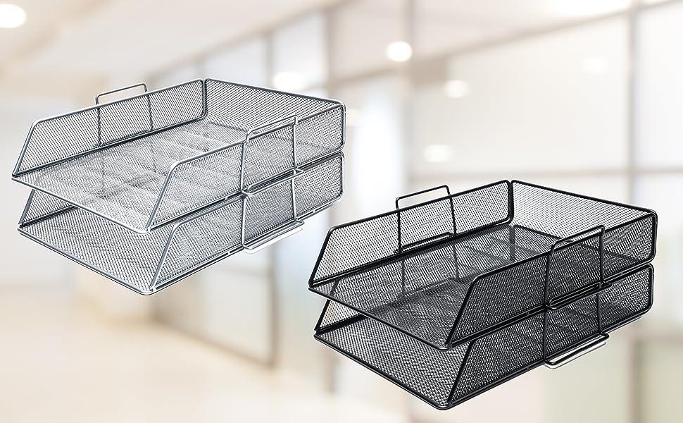 Exerz Corbeilles à courrier 2 Pièces/Bannette de bureau superposable à mailles métalliques