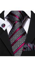 Red Grey Striped Tie for Men Pocket Square Cufflinks Set