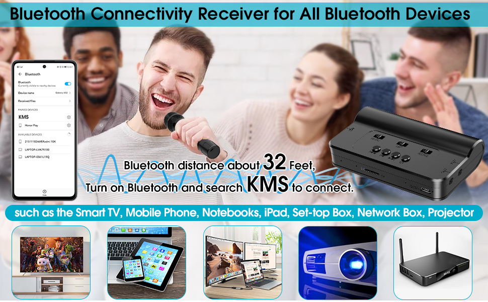 Rechargeable Wireless Microphone With Bluetooth Receiver System