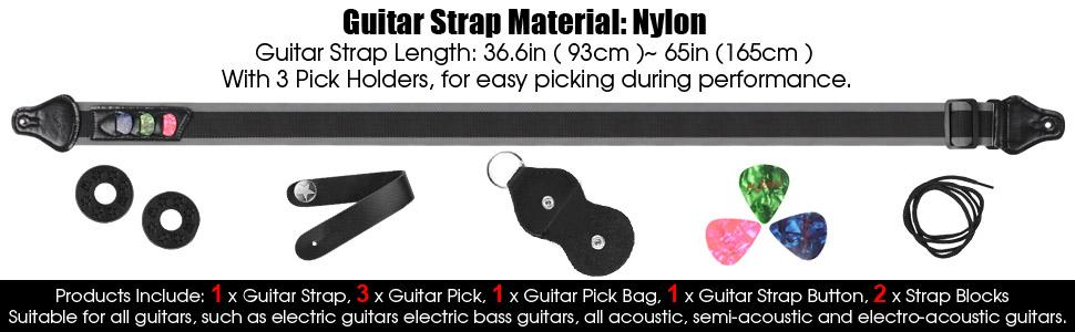 1 x Guitar Strap, 3 x Guitar Pick, 1 x Guitar Pick Bag, 1 x Guitar Strap Button, 2xStrap Blocks