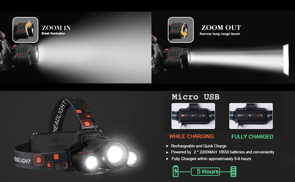 zoom head lamp rechargeable