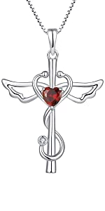 Stethoscope Necklace 925 Sterling Silver Angel Wings Cross Pendant Necklace for Women