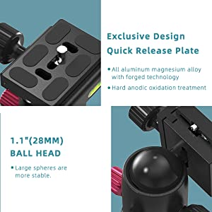 """Ball Head with 1/4"""" quick release plate"""