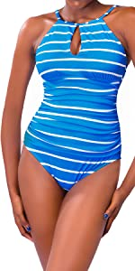 Striped one-piece swimsuit