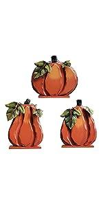 Set of 3 Wood Table Pumpkin