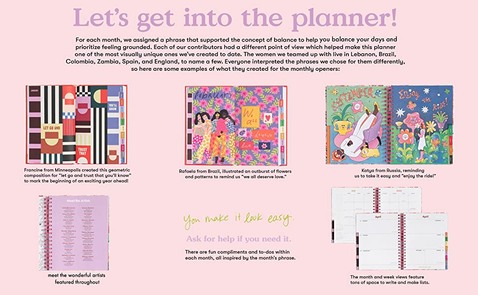 2021-2022 hardcover planners with daily weekly monthly spreads