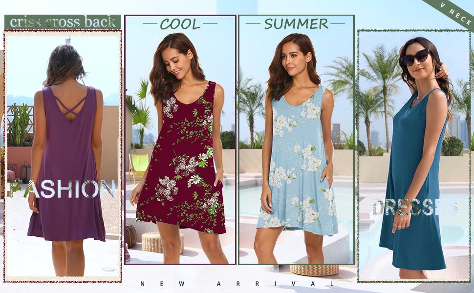LuckyMore summer beach v neck tank dress