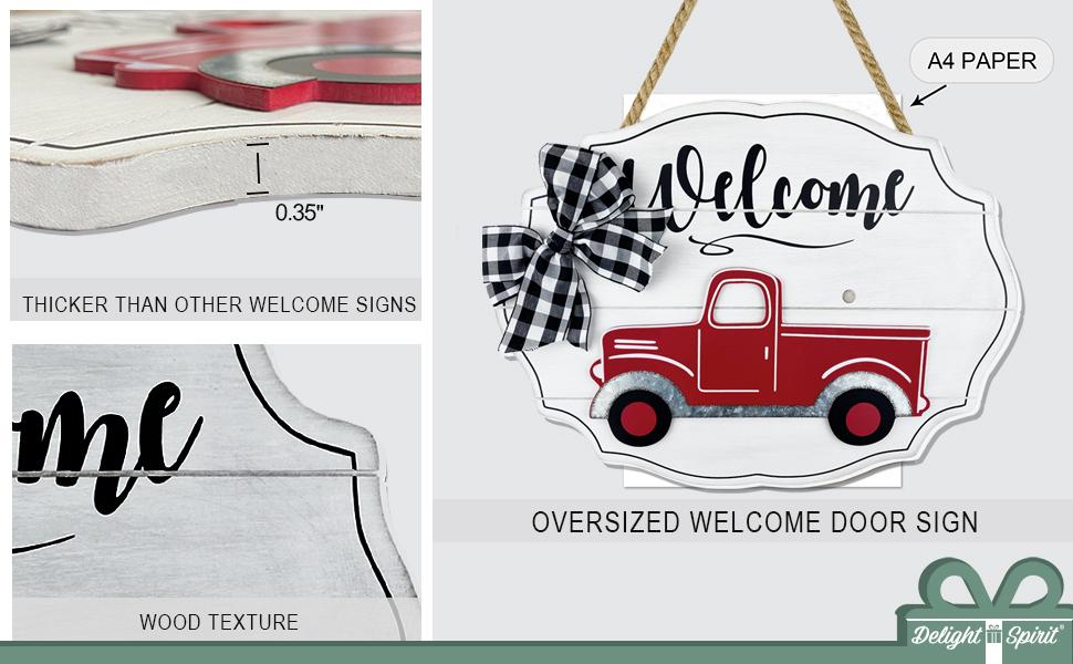 door hanger with interchangeable outside outdoor indoor wall decor vintage truck welcome sign