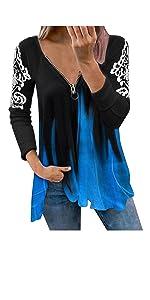 Women Zipper V Neck Sweatshirts