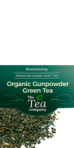 Organic Gunpowder Green Tea Loose Leaf Rolled in Pellets Antioxidants Energy Boost Weight Control
