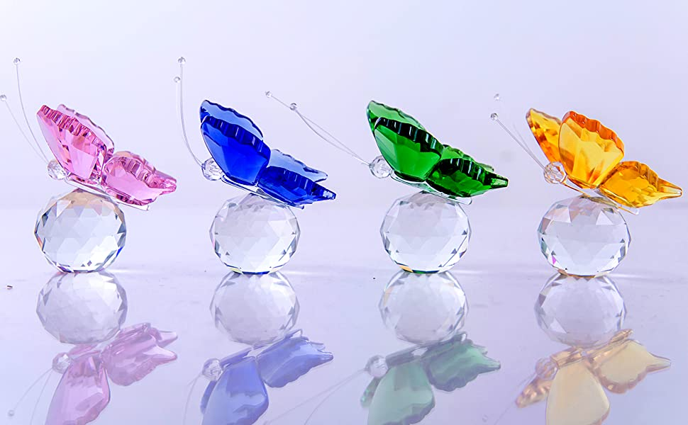 Crystal Flying Butterfly with Crystal Ball Collectible Figurines
