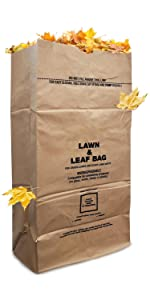 30 Gallon Kraft Leaf Bag - 10 Count - Heavy Duty Large Paper Trash Bags - Tear Resistant Yard Waste