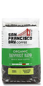 organic rainforest blend whole bean coffee bag