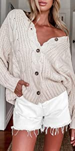v neck button down cardigan