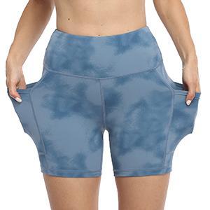 UURUN tie dye printed yoga shorts with pockets, Higt waisted tummy contorl running biker shorts