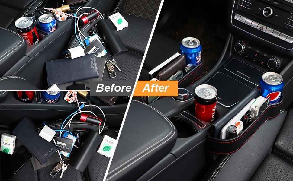 Ba30FRllylelly Bo/îte de rangement de voiture noire Gap Filler Console en plastique Organisateur de poche Accessoires int/érieurs Si/ège de voiture Side Drop Caddy Catcher