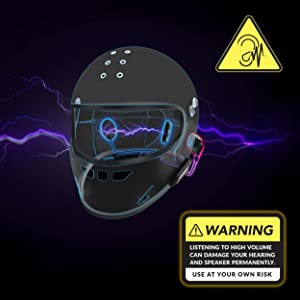 Warning high volume damage hearing and speakers