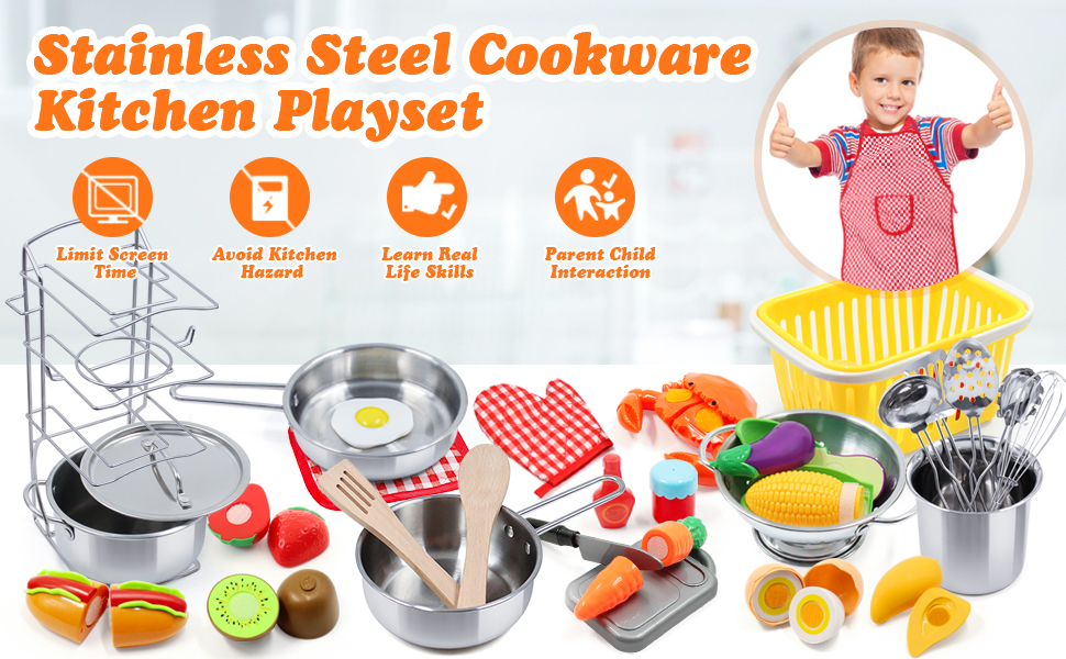 toy kitchen sets for girls,pretend food,play pots and pans sets for kids,play dishes,kitchen playset