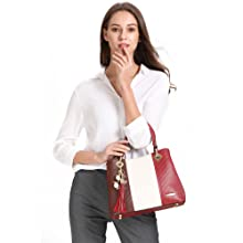red handbag model white background