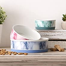 Assorted Marble Pet Bowls for Dogs and Cats