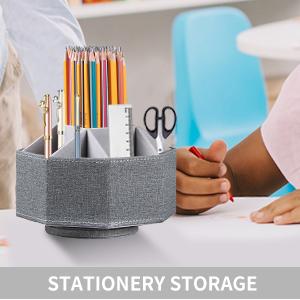 swivel desk organizer and accessories grey