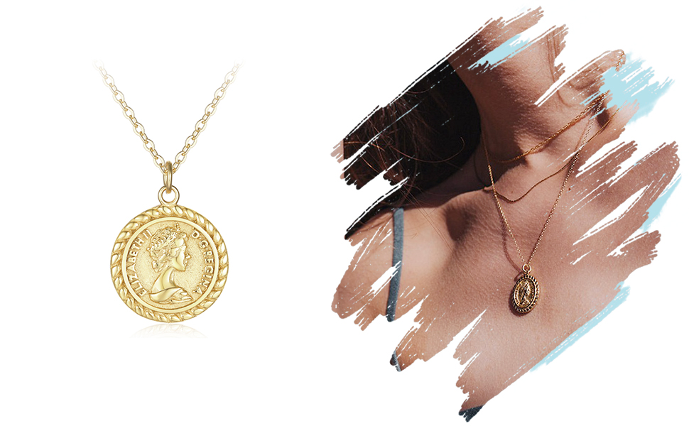 gold dainty Elizabeth coin necklace