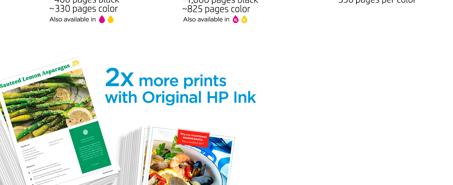 original hp ink 2x pages fade-resistant bright images high-quality prints