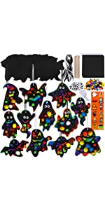 Magic Color Scratch Halloween Ghost Ornaments with Envelopes and Stickers Craft Kit