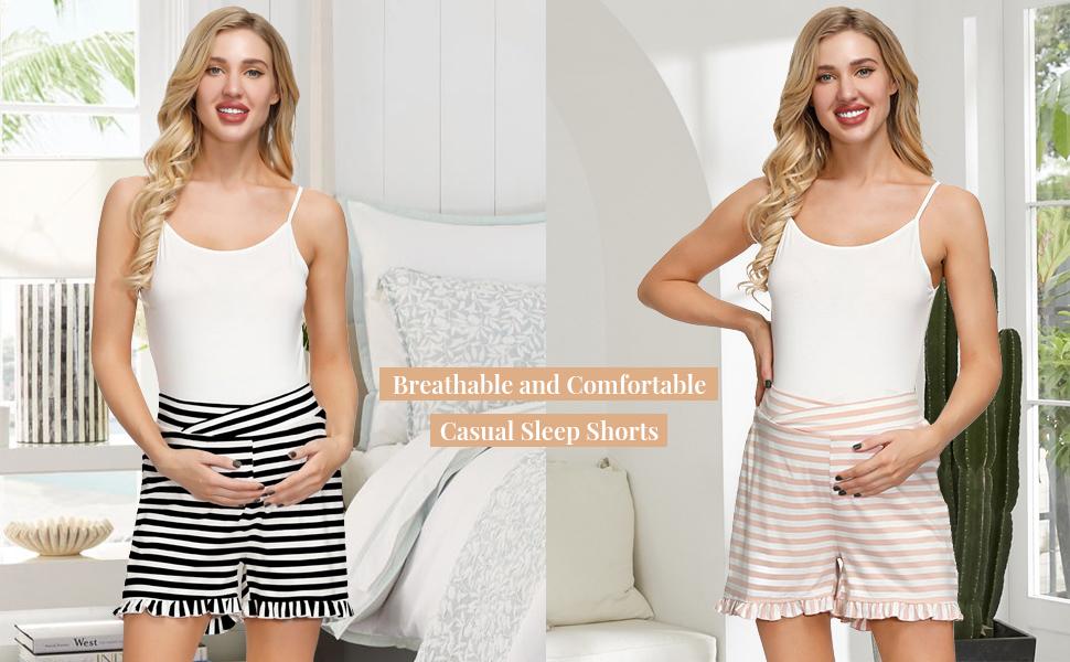 Maternity Striped Shorts Elastic Waist Cross Front Cotton Sleep Shorts