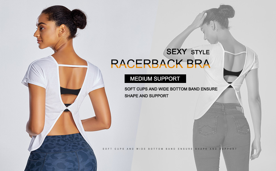 Women's Comfort Full Support Sports Bra Wirefree Padded Racerback Sports Bra for Yoga Workout Gym