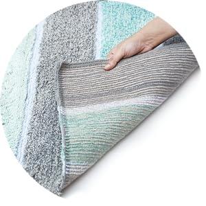 Clear slip-resistant latex sprayed back to increase bath rug grip on sleek floors