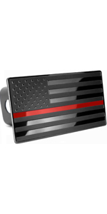 USA Flag Hitch Cover Red Line