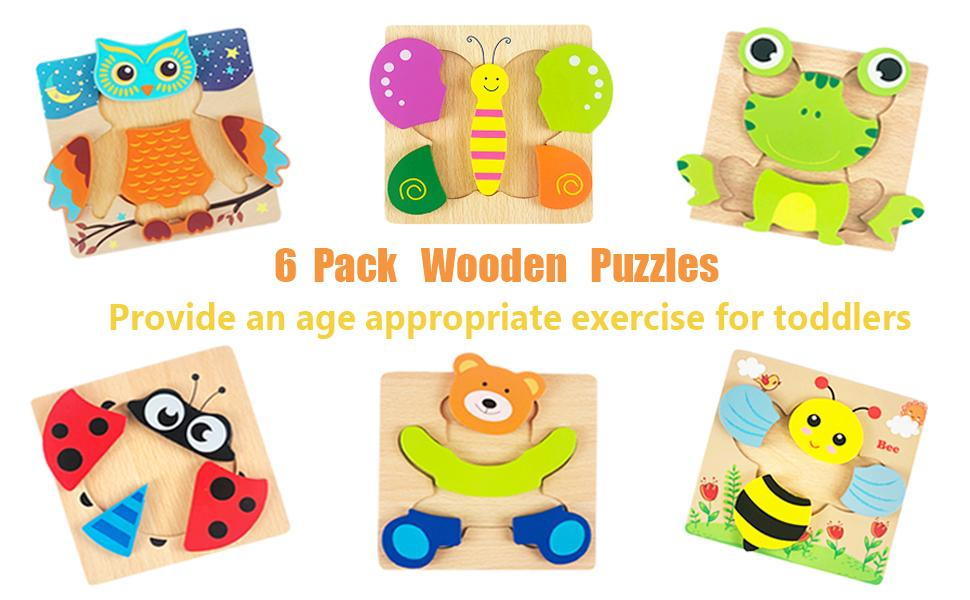 6 pack wooden puzzles