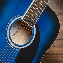 Ashthorpe acoustic-electric dreadnought guitar, blue, sound hole and rosette, spruce tonewood front