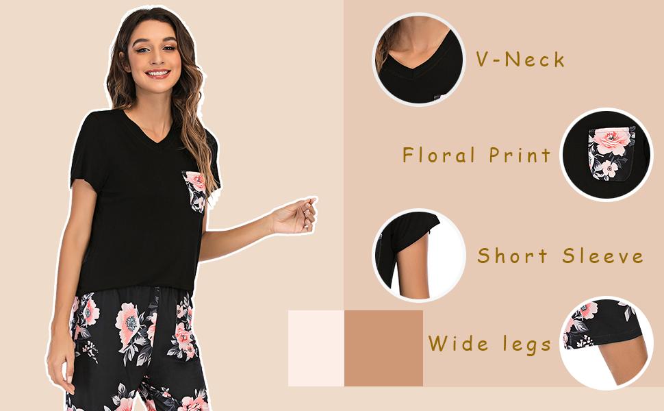 Short Sleeve V-Neck Tops Floral Print pocket Wide Leg Pants