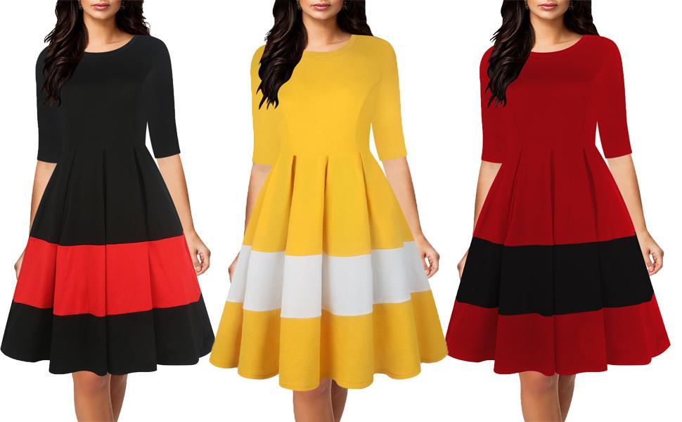 oxiuly Women's Vintage Dress Half Sleeve O-Neck Contrast Casual Pockets Party Swing Dress Work Dress