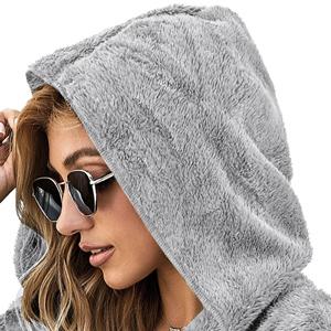 Women's Casual Hooded Fuzzy Fleece Cardigan Jacket Open Front Long Sleeve Coat with Pockets