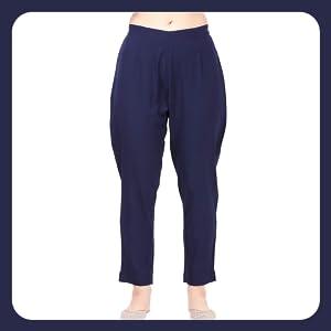 NAINVISH Women Blue Crepe Straight Kurti with Pant Set (SD035) SPN-FOR1