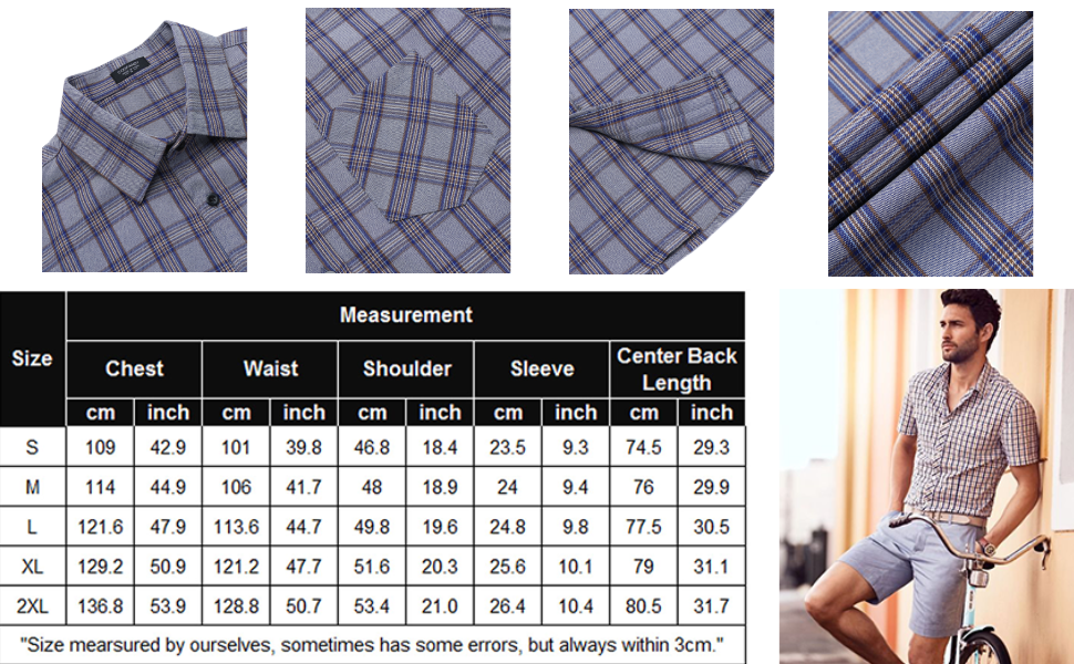 COOFANDY mens plaid shirts short sleeve button down check shirts