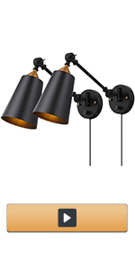 Swing Arm Plug in Wall Sconces Set of 2